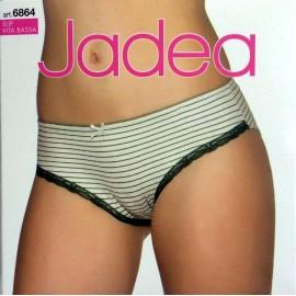 3 Slip donna Jadea a vita bassa in cotone elasticizzato rigato con giro gamba frontale in pizzo