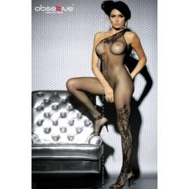 Sexy lingerie donna Obsessive,Bodystocking monospalla con ricami