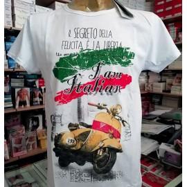 T-shirt uomo Capovolto in cotone fiammato taglio vivo con stampa Vespa