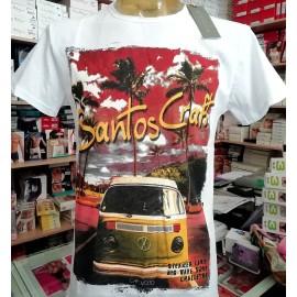 T-shirt uomo Capovolto in cotone fiammato taglio vivo con stampa furgone