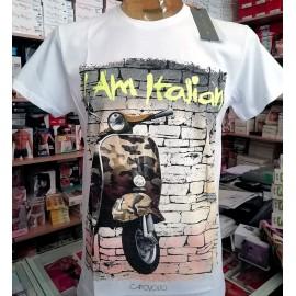 T-shirt uomo Capovolto manica corta in puro cotone con stampa vespa
