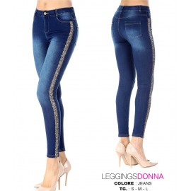 Leggings donna Meritex estivo in confortevole jeans con banda leopardata