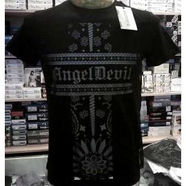 T-shirt uomo Angel Devil manica corta a girocollo con stampa logo e retina