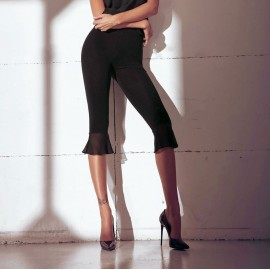 Pantacapri donna Jadea in cotone elasticizzato con balza smerlata bassa