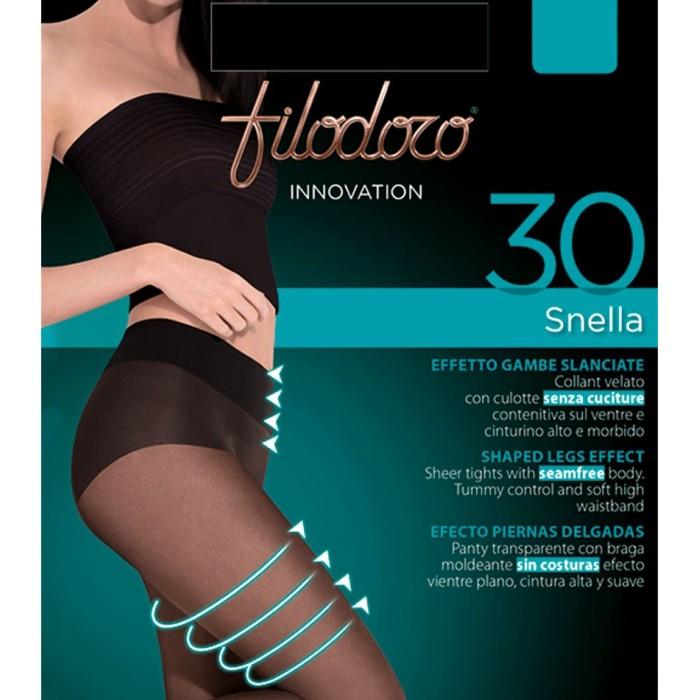 3 Collant donna Filodoro Snella 30 velato con corpino contenitivo e cinturino alto comfort
