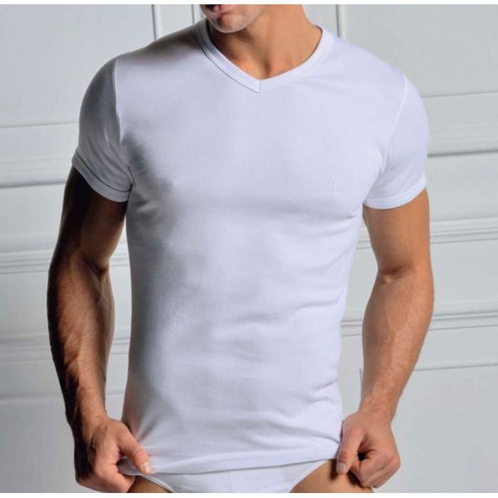 3 T-shirt uomo Navigare manica corta scollo V in caldo cotone felpato con logo