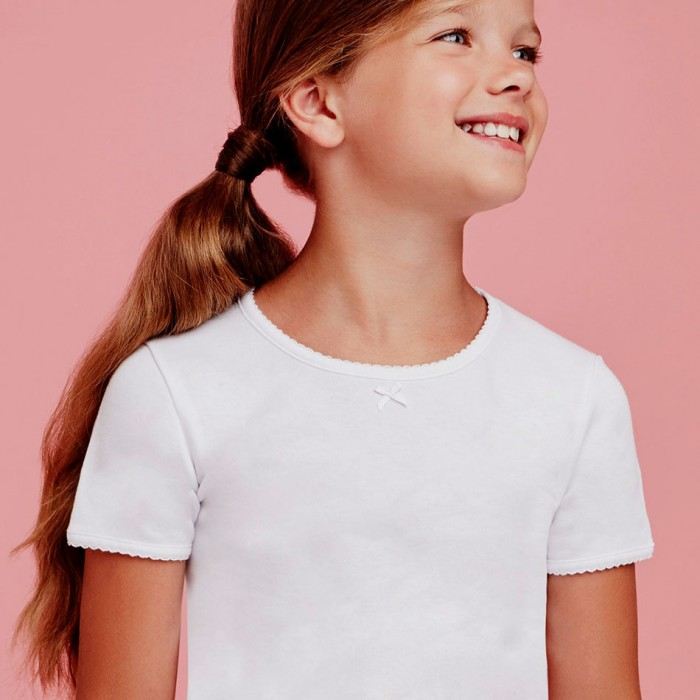 T-shirt bambina Ellepi manica corta a girocollo in caldo cotone felpato invernale