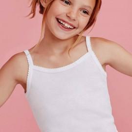 Canottiera bambina Ellepi a spalla stretta in puro cotone con profili smerlati