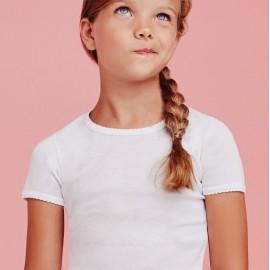 3 T-shirt bambina Ellepi a manica corta a girocollo in jersey di puro cotone
