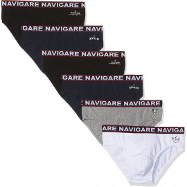 6 Slip uomo Navigare in cotone con elastico loggato e stampa