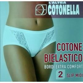 2 Slip da donna Cotonella Midi in cotone elasticizzato con inserti in pizzo