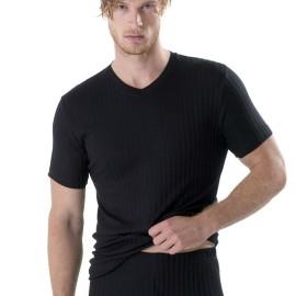 T-shirt uomo Gicipi manica corta con scollo V in filoscozia tessuto scarto ago