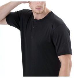 T-shirt maglia uomo Gicipi manica corta a serafino in morbido filoscozia