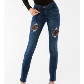 Leggings donna Matignon jeans in cotone con rotture chiuse in pizzo