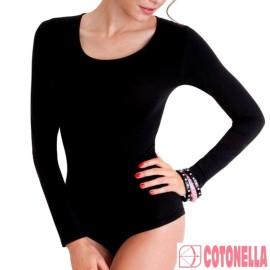 2 Body donna Cotonella con scollo ampio in cotone elasticizzato a manica lunga