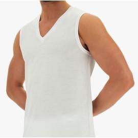 T-shirt uomo Cagi senza maniche scollo V profondo in cotone mercerizzato