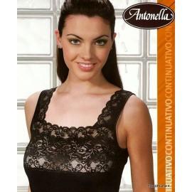 Canottiera donna Antonella a spalla larga in lana cotone con balza di pizzo