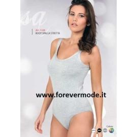 Body donna Egi spalla stretta in cotone modal elastici tubolari