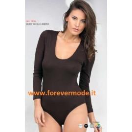 Body donna Egi a manica lunga con scollo ampio in cotone modal