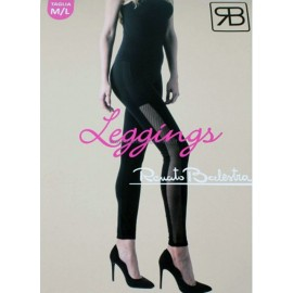 Leggings donna Balestra in cotone con bande in micro rete trasparente