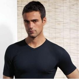 T-shirt uomo Club88 con collo a V in jersey di cotone aderente