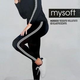 Leggings donna Magic Dream in cotone elasticizzato con banda rigata bianca