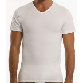 T-Shirt uomo Garda manica corta con scollo a V in cotone elasticizzato aderente