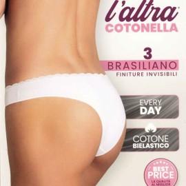 3 Brasiliane Cotonella in cotone con finiture invisibile e girovita pizzo
