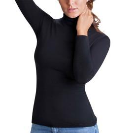 Maglia donna Cotonella manica lunga con collo dolce vita in cotone garzato