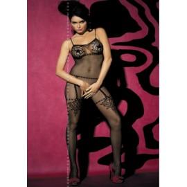 Sexy lingerie donna Obsessive bodystocking con ricami su rete