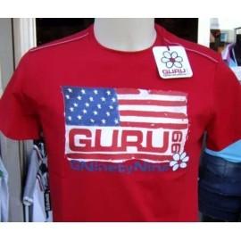 T-shirt uomo Guru manica corta a girocollo con stampa bandiera USA e logo