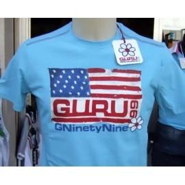 T-shirt uomo Guru mezza manica con stampa bandiera USA e logo