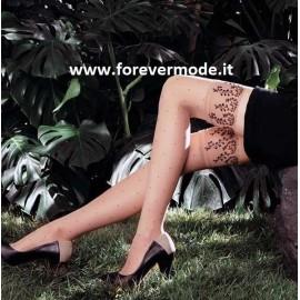 Autoreggente donna Matignon Eveil motivo pois con balza in tulle