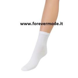 Calzino donna Matignon corto in cotone leggero con logo