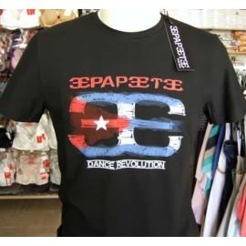 T-shirt uomo Papeete con stampa e logo versione bandiera Cuba