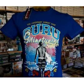 T-shirt uomo Guru mezza manica a girocollo con stampa logo surf