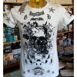 T-shirt uomo Angel Devil manica corta a girocollo con stampa grande e logo