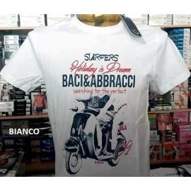 T-shirt uomo Baci & Abbracci manica corta a girocollo con stampa Vespa e logo