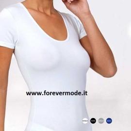 T-shirt maglia donna Egi manica corta in cotone modal con scollo ampio