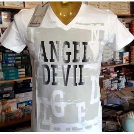 T-shirt uomo Angel Devil manica corta scollo a V con stampa logo e borchie