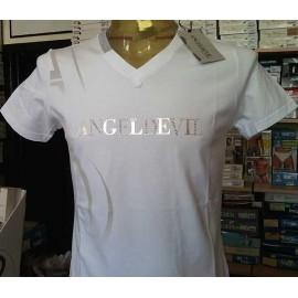 T-shirt maglia uomo Angel Devil con logo in stampa e borchie