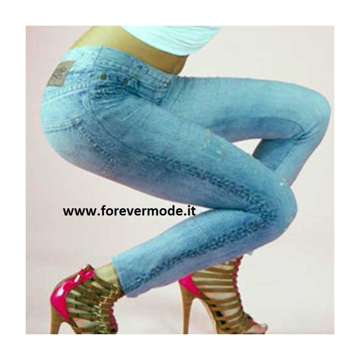 Leggings donna Bugie effetto jeans microfibra stampata e rotture