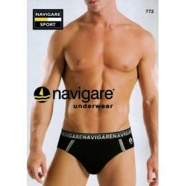 3 Slip uomo Navigare, cotone con bande, elastico esterno logato