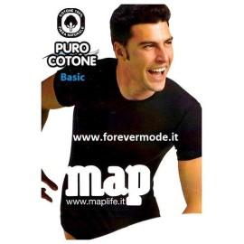 T-shirt uomo Map o FDB girocollo in puro cotone a costina fine