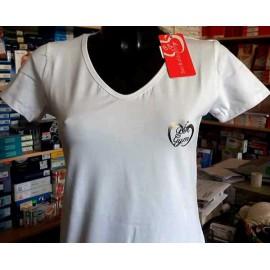 T-shirt donna Baci & Abbracci con scollo V con stampa argento