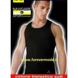 3 Canottiere uomo Navigare spalla larga in cotone bi-elastico con logo