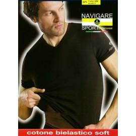 3 T-shirt uomo Navigare in cotone con scollo a V, logo su spalla
