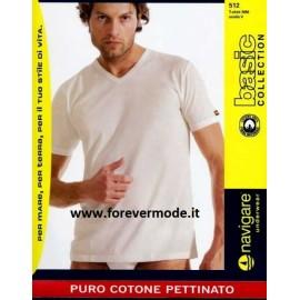 3 T-shirt uomo Navigare manica corta con scollo a V in jersey di puro cotone