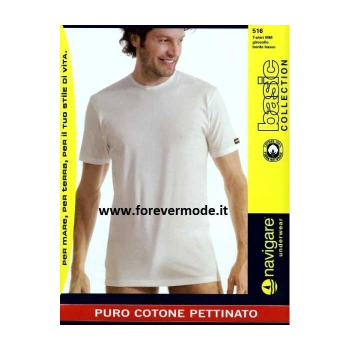 3 T-shirt uomo Navigare con girocollo basso in cotone con logo