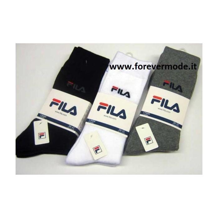 3 Calzini uomo Fila corti in cotone elastico con logo ricamato